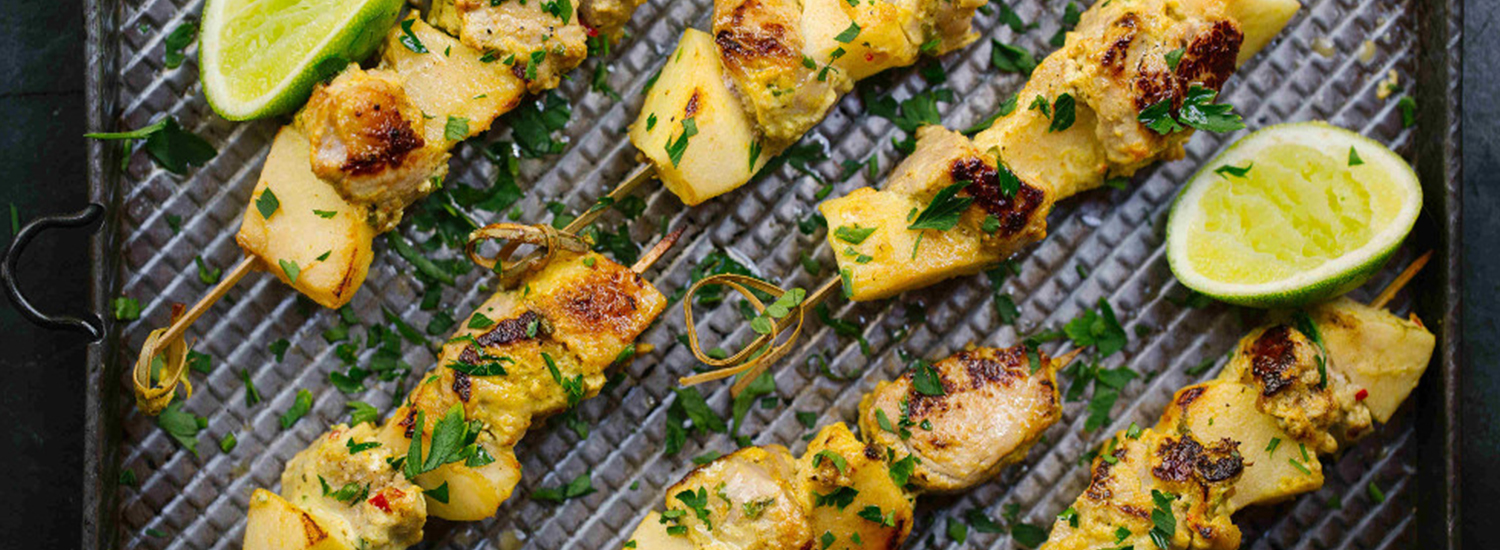 Apple and Pork Kebabs with Indian Scented Spices