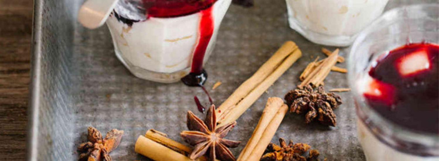 Fragrant Pear Panna Cotta with a Spicy Red Wine Syrup